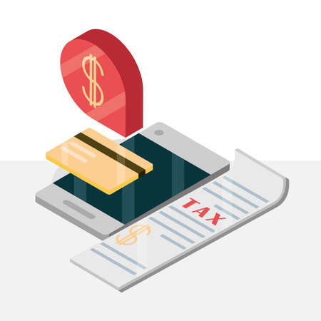 tax mobile money bankcard isometric
