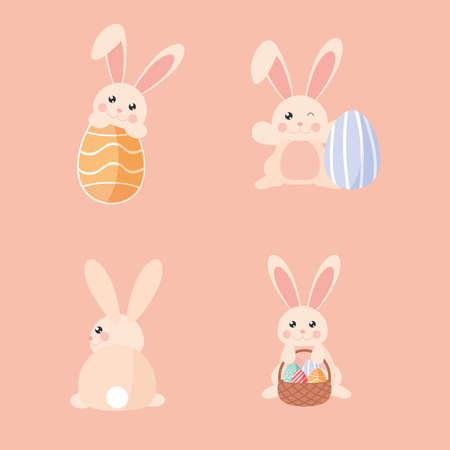 set easter rabbits eggs basket