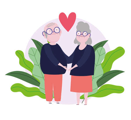 family grandparents together cartoon lovely