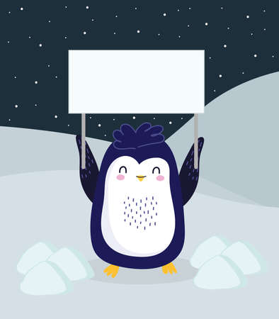 penguin with placard in ice