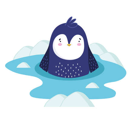 penguin in water ice winter cartoon Ilustrace
