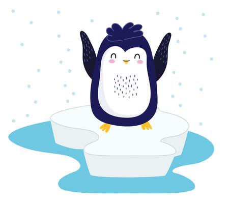 penguin ice snow winter cartoon Vector Illustratie