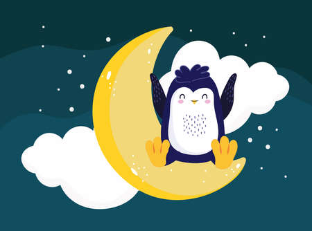 penguin sitting moon night scene