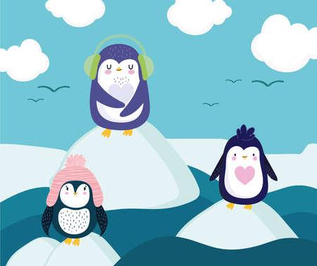 penguins standing ice floe cartoon