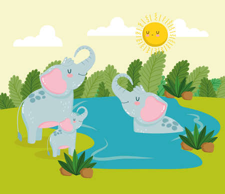 Animals elephants cartoon jungle water
