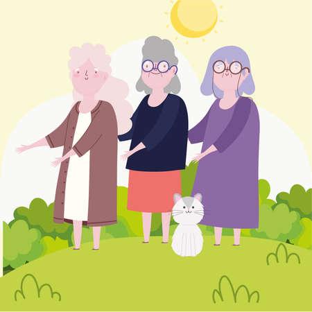 grandmothers and cat outdoor cartoon