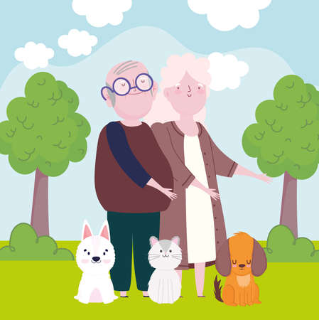grandma grandpa pets cartoon landscape