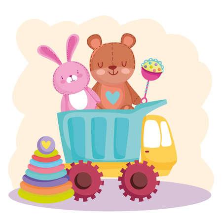 kids toys truck bear rabbit rattle