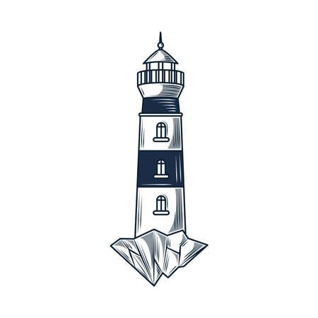 lighthouse maritime nautical guide sketch Vetores