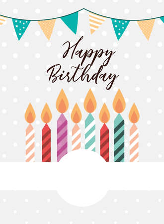 happy birthday candles pennants card