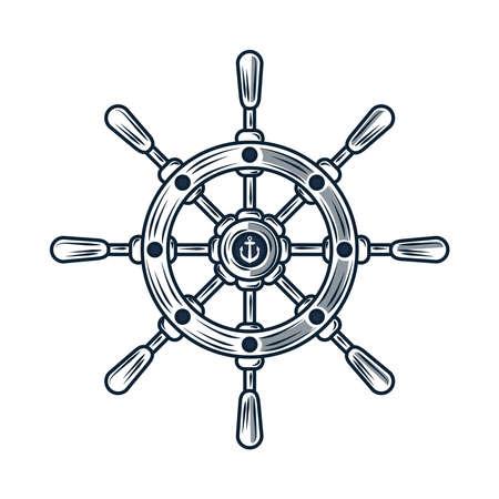 steering wheel nautical sketch icon Vecteurs
