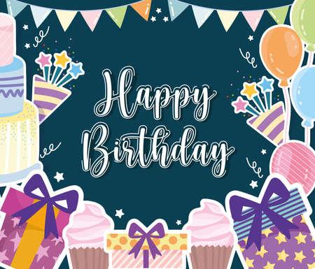 Birthday celebration party festive card Ilustração Vetorial