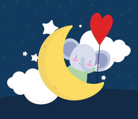 cute elephant moon balloon cartoon