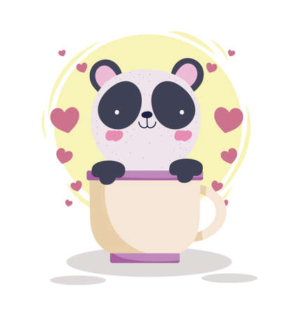 cute panda on cup hearts Vettoriali