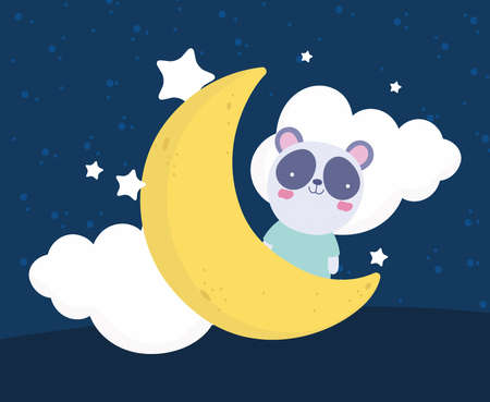 cute panda moon clouds cartoon