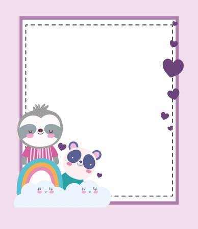cute panda sloth rainbow banner  イラスト・ベクター素材