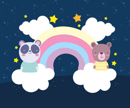 panda bear rainbow cute animals
