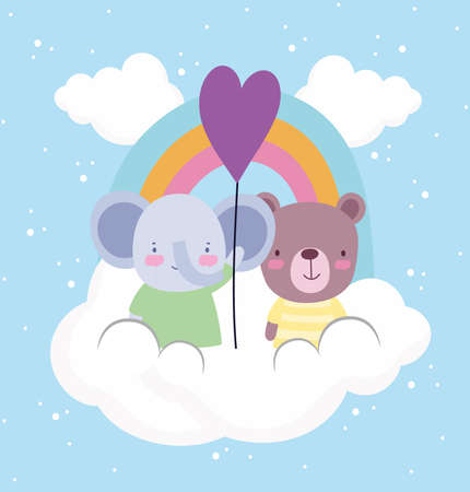 cute elephant bear balloon rainbow Vettoriali