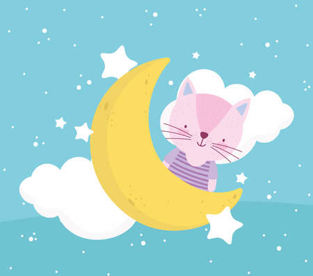 cute cat moon clouds stars Vettoriali