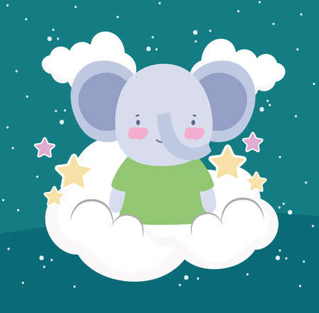 cute elephant clouds stars cartoon
