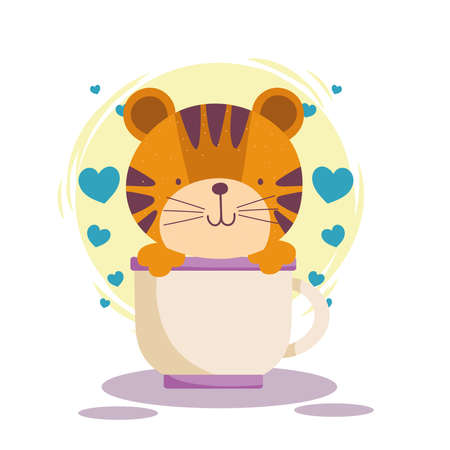 cute tiger on cup hearts