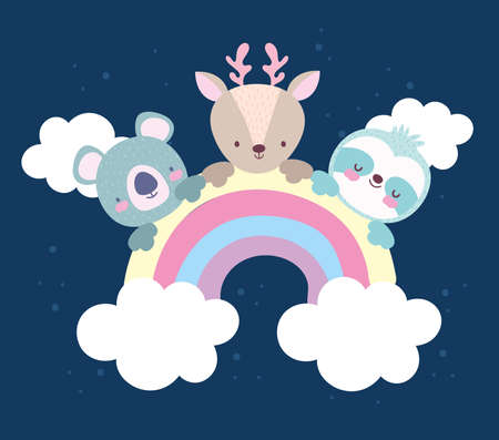 cute animals rainbow cloud cartoon