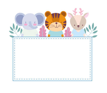 cute animals elephant tiger banner Vettoriali