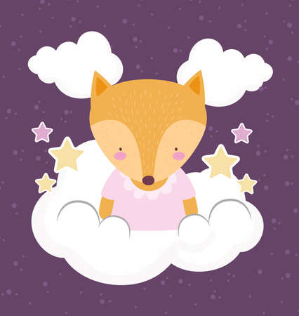 cute fox animal on clouds