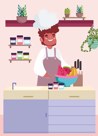 chef fruis bowl kitchen cartoon