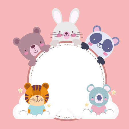 cute cartoon animals round banner