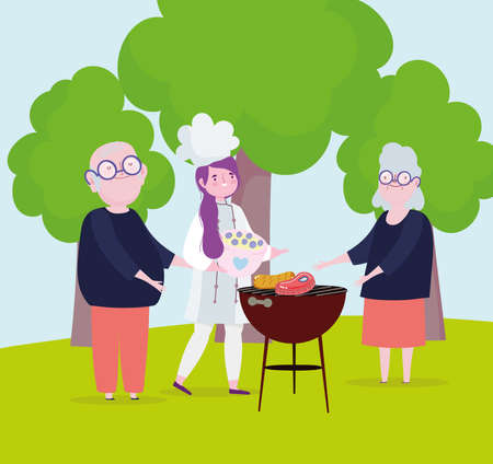 grandparents girl cooking picnic outdoor