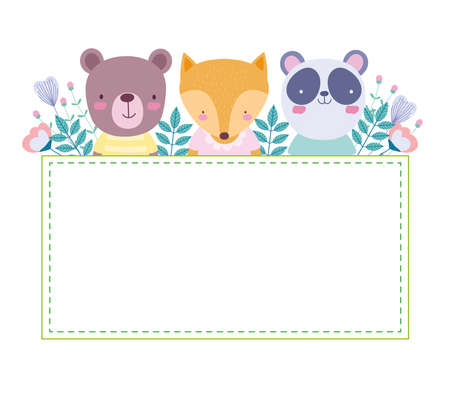 cute animals floral card template