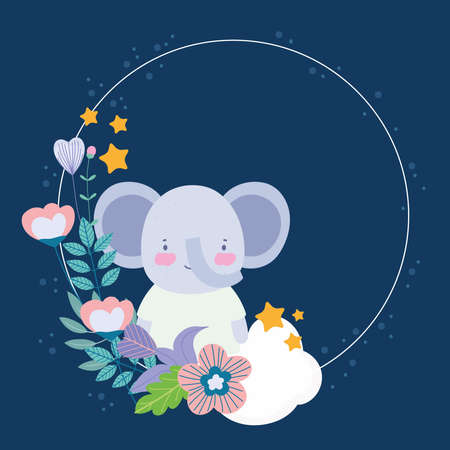 cute elephant floral flowers badge