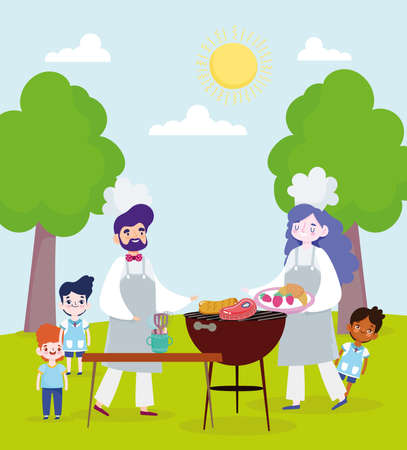 family cooking grilled food outdoors Vettoriali