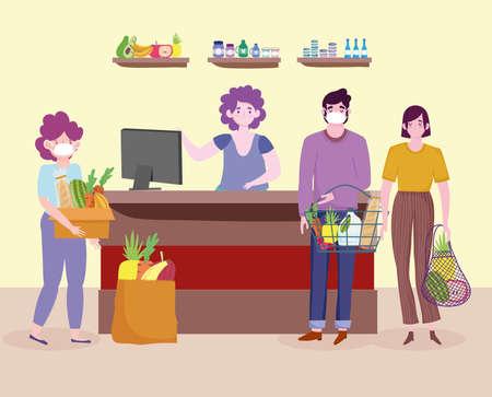 grocery shop food queues people