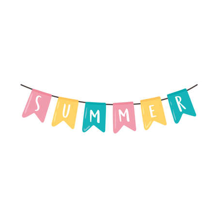 summer pennants decoration icon isolated