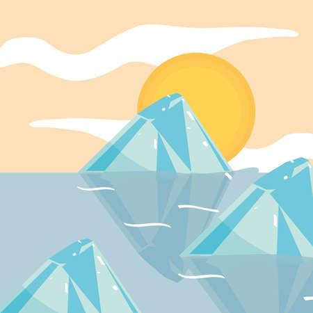 melting iceberg ocean natural disaster