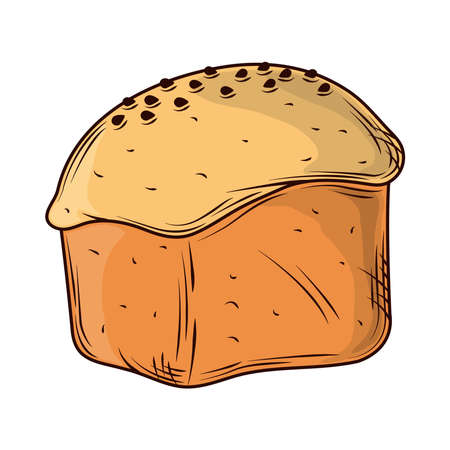 baked rustic bread icon isolated