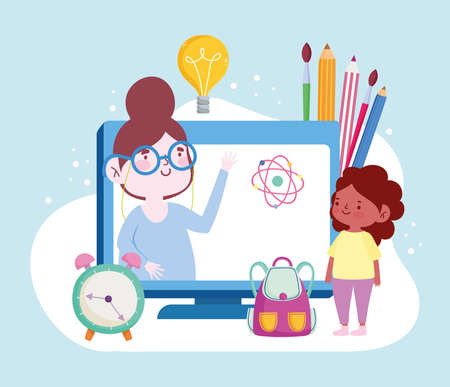 online education teacher on screen Ilustrace