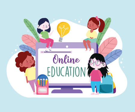 online education application students cartoon Ilustrace