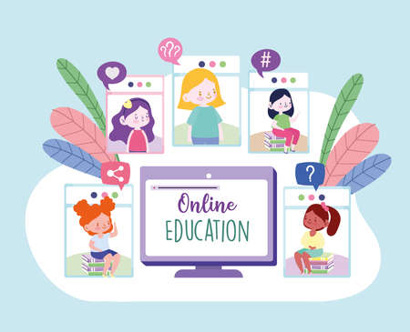 online education girls connected internet
