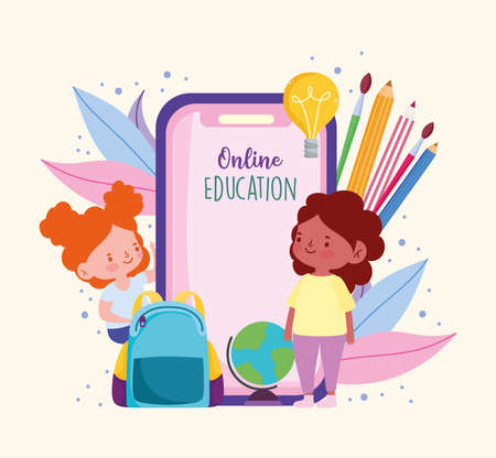 online education smartphone girls students