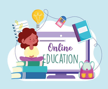 online education kids studying home Ilustrace