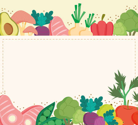 healthy food meat fruit vegetables Ilustrace
