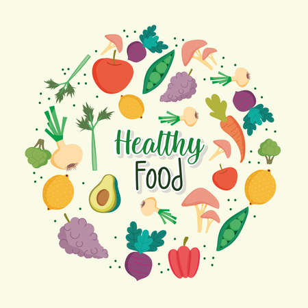 healthy food banner round template Ilustrace
