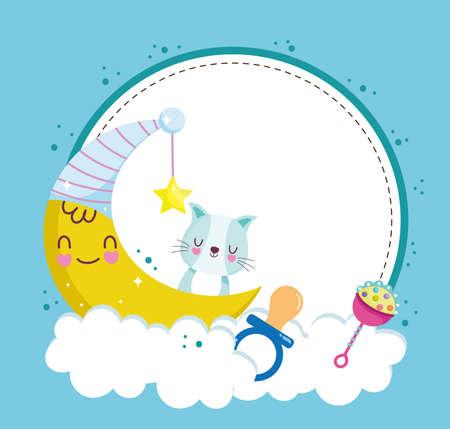 baby shower cat pacifier moon