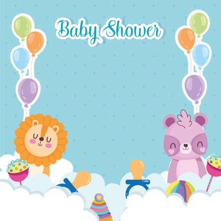 baby shower celebration animals balloons Vektorgrafik