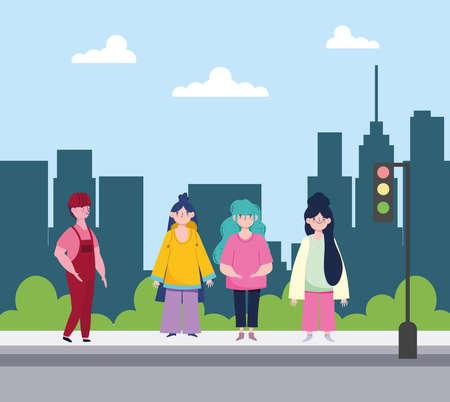 people standing street city urban