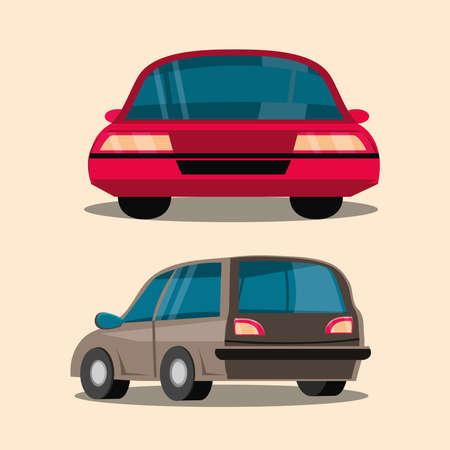 cars transport vehicle back view Vektoros illusztráció