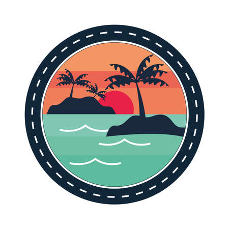 summer tropical island palms patch